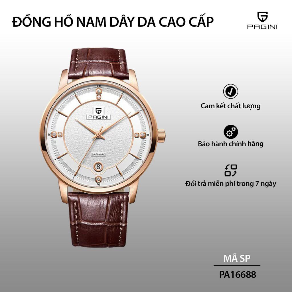(Tặng Kèm Kính Mắt Nam) Đồng Hồ Nam PAGINI PA16688 Dây Da Cao Cấp Mặt Kính Chống Xước