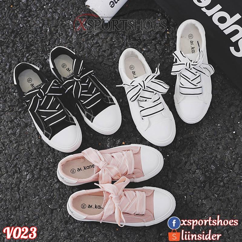 Giày Ulzzang thể thao nữ V023 màu đen, trắng và hồng