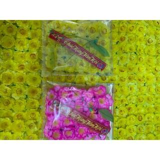 Hoa mai hoa đào giả túi kèm lá tíu