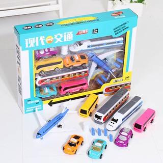 Kids City Transport Vehicle Toys Set Taxi Car Air Plane Bus Subway Toys Set