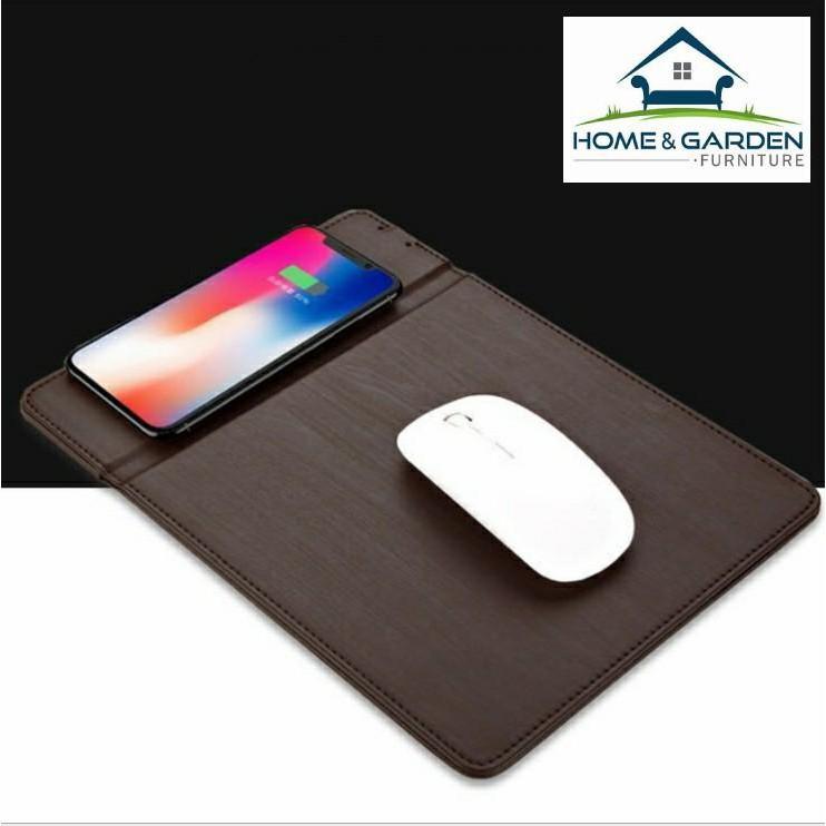 Sạc không dây kiêm lót chuột da cao cấp dành cho Iphone X, Samsung S8 S9 (Dark Brown) home and gard