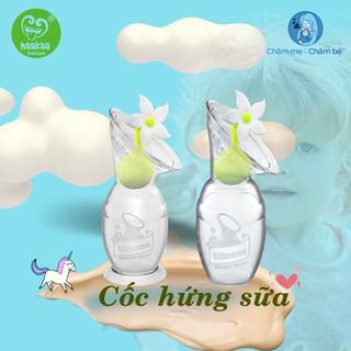 Cốc hứng sữa/hút sữa silicon HaaKaa – tặng kèm nút hoa chặn