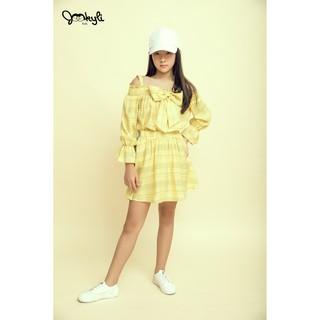 [Mã JOOKYLY10 giảm 10% đơn 99K] Chân Váy Xòe Bé Gái Phối Kẻ Sườn (4-15 tuổi)Jookyli