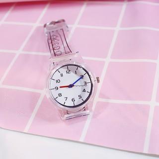 đồng hồ thời trang nữ mặt số dây nhựa dẻo trong suốt SS205