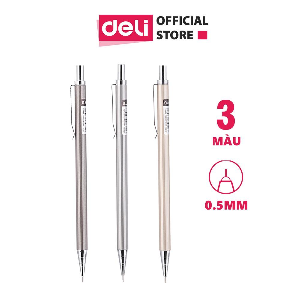 Bút chì kim 0.5mm Deli, Bạc/Rượu sâm-banh/Nâu - 1 chiếc - E6490