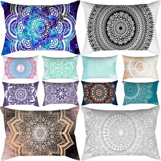 Polyester Cotton Line Pillow Case Rectangle Bedroom Pillow Cases Indian Mandala Pattern Small Travel Pillow Cover 50*30cm