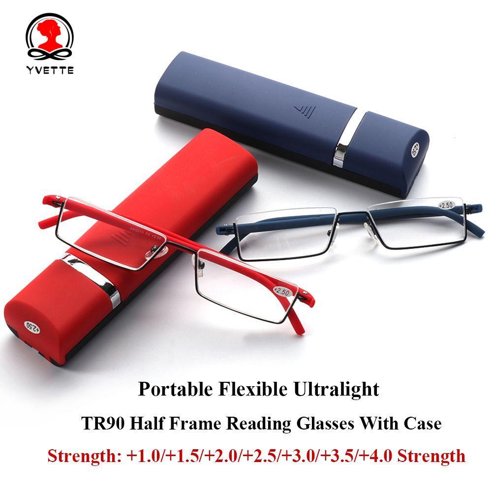 YVETTE Unisex Reader Eyeglasses Portable Semi Rimless Reading Glasses Vision Care with Case TR90 Ultralight Half Frame/Multicolor