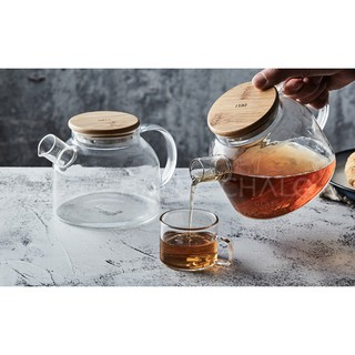 Bình trà thủy tinh chịu nhiệt nắp gỗ lót inox 1000ml