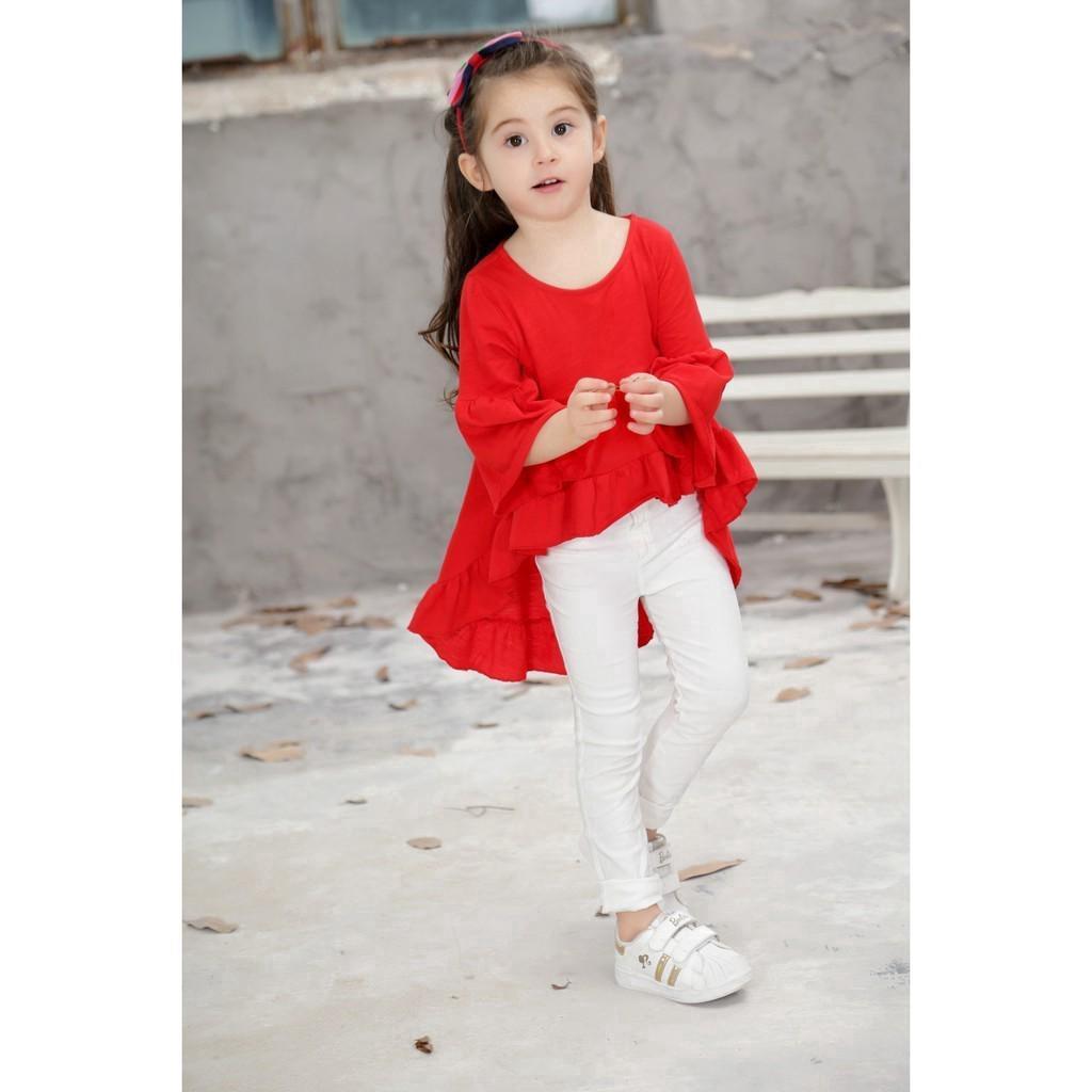 Áo tay ống loe kiểu trước ngắn sau dài dễ thương cho bé gái