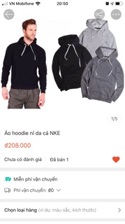 [Thanh lý] Áo hoodie nỉ da cá NKE size M L