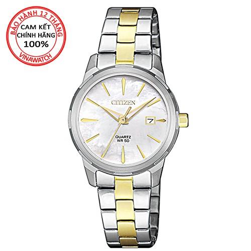 [Mã WTCHMALL hoàn 100k xu đơn 500k] Đồng hồ Nữ Citizen dây kim loại pin kính cứng EU6074-51D