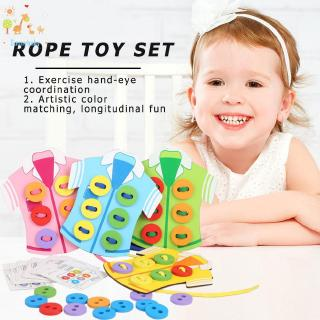 Toy ♡ Montessori Child Clothes Wearing Rope Wood Handmade Kindergarten Sewing Toy