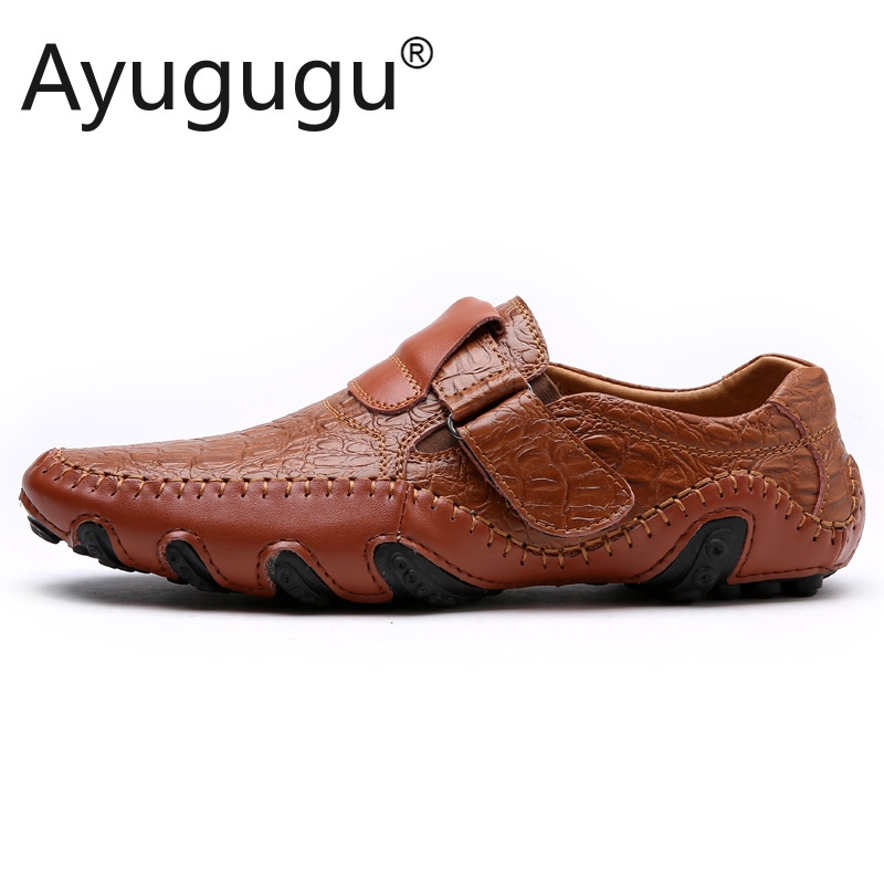 Handmade Real Leather Mens Giày Casual Luxury Men Loafers Thời Trang Thoáng Khí Lái Xe Giày Slip on Moccasins Size 39-47