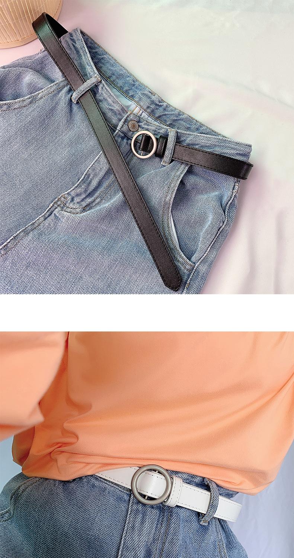 Thắt Lưng Da Màu Trơn Khóa Kim Loại Tròn Thời Trang Cho Nữ