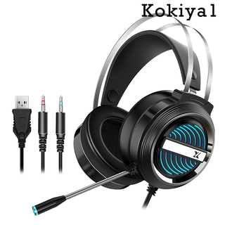 [HOT] USB + 3.5mm Gaming Headset with Mic Microphone 7 LED Light for PS4 PC Gamer