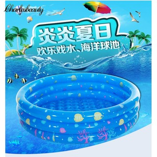 ♧CHARL♧ 100cm three-ring round infantile inflatable swimming pool