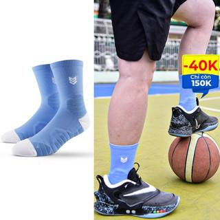 Tất thể thao R360 Redikick Xanh chống trượt thoáng khí có đệm chuyên dụng bóng rổ bóng đá chuyên nghiệp cao cổ nam nữ