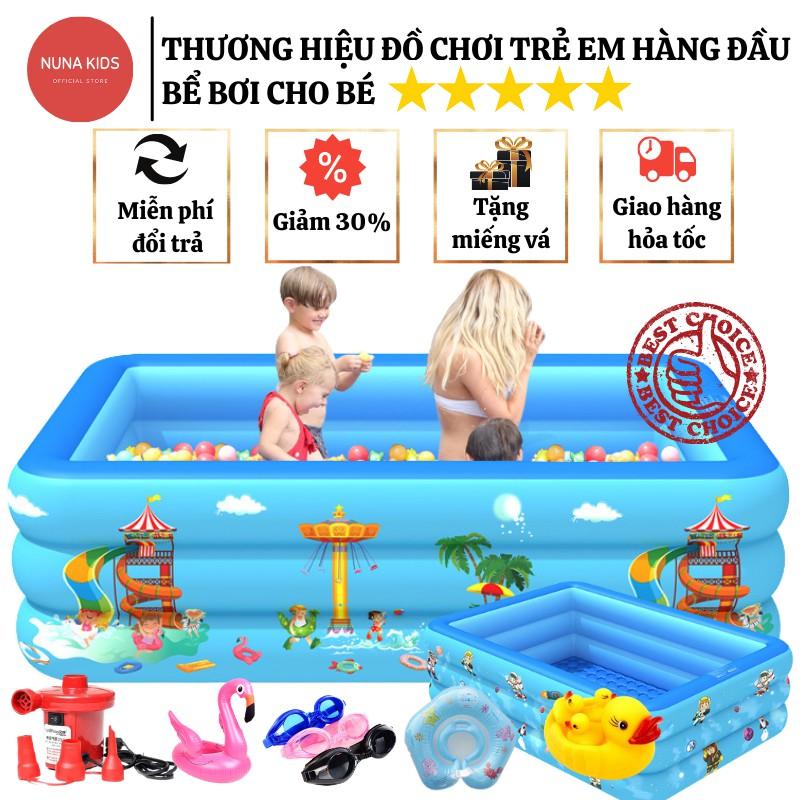 Bể bơi cho bé NUNAKIDS cao cấp đủ kích cỡ đáy chống trượt, bể bơi phao TẶNG 5 bóng, miếng vá, kèm Bơm điện Hồ bơi cho bé