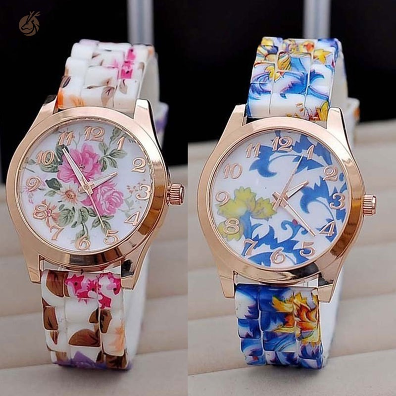 New Silicon Strap Watch Beautiful Flower Porcelain Design Wristwatch Women Students Girls