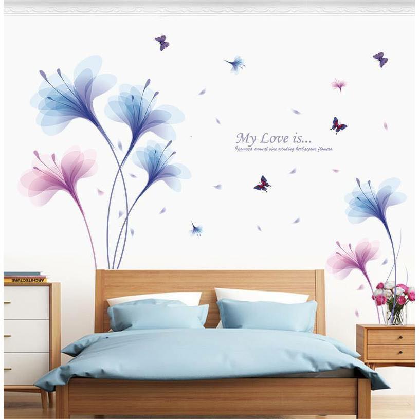 Decal dán tường hoa pha lê xanh tím