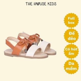 Sandal bé gái – Sandal trẻ em cao cấp nơ nâu – THE HOUSE KIDS