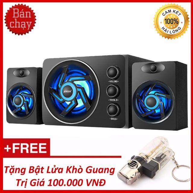Loa Máy Vi Tính Bluetooth Gaming SADA D-209 Bass Siêu Trầm - Tặng Kèm Bật Lửa Khò