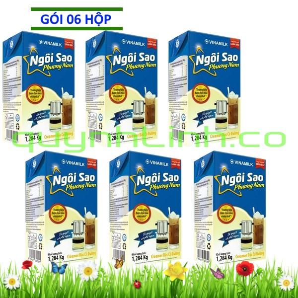 Sáu hộp Sữa đặc Ngôi Sao Phương Nam xanh biển 1284gram