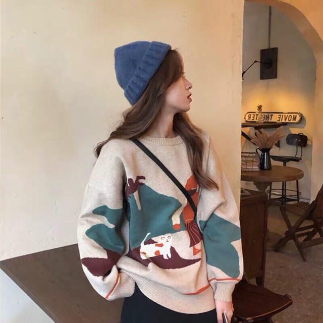 Áo len hoạ tiết xuất hàn nữ ảnh thật A92 | BigBuy360
