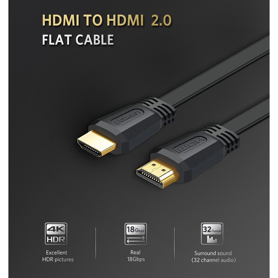 Cáp HDMI 2.0 dây dẹt dài 1.5m hỗ trợ 4K cao cấp - Ugreen 50819 tại Hà Nội