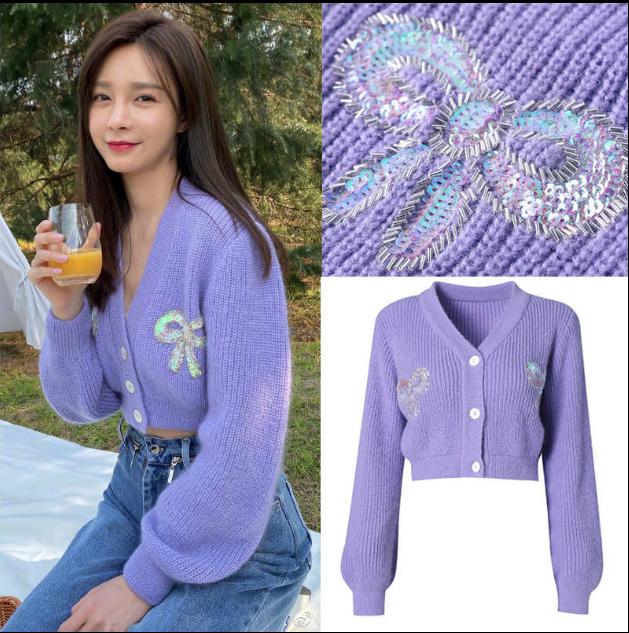 Áo Khoác Lông New Short Top Korean Loose Purple Long Sleeve Sweater Coat Knitting Cardigan Fashion