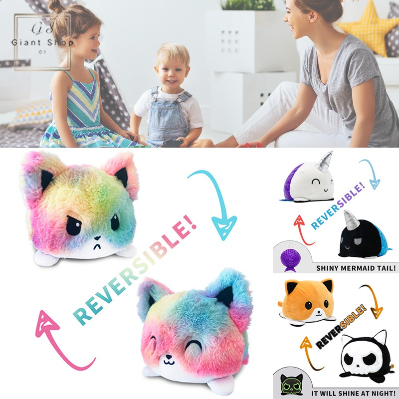 Double-Sided Flip Plush Toy Doll Soft Reversible Animals Doll Toy Gifts for Kids Family Friends