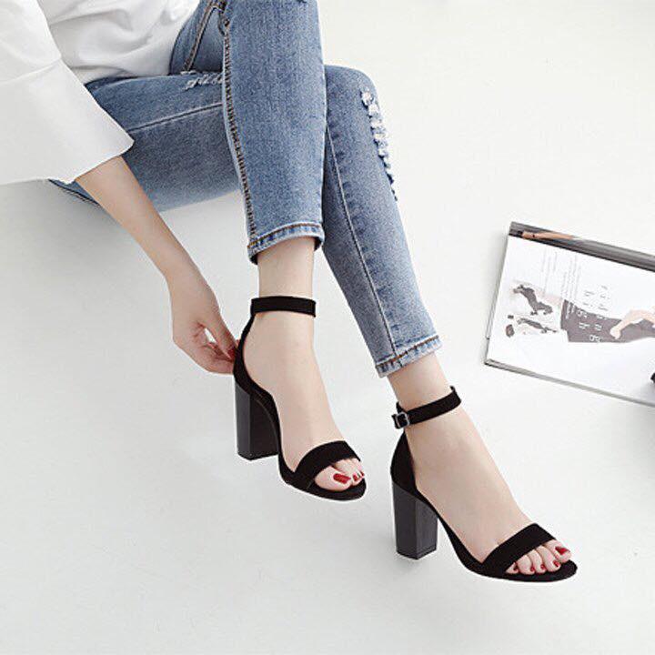[Mã WSTOPT9 hoàn 30K xu đơn từ 150K] [ẢNH THẬT] Giày cao gót sandal 7cm bản ngang đen
