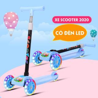 Xe Trượt Scooter Cao Cấp Cho Bé 2-8 Tuổi 3 Bánh Có Đèn LED Gấp Gọn Bền Đẹp – Đồ chơi vận động cho bé