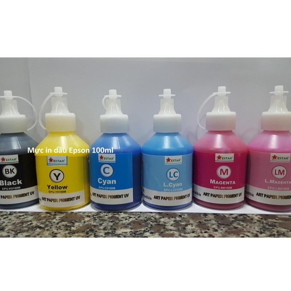 🍀 Mực in màu epson - Mực dầu Estar Pigment uv 100ml dùng cho máy in phun màu Epson T50 / T60 / L310 / L805