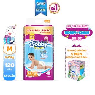 Hình ảnh [Tặng 1 Bobby's Friend Box] Tã quần Bobby siêu thoáng bịch Mega Jumbo M120/L111/XL102/XXL93-0