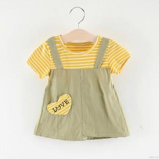 ♕ babyme ღ Girls Fake Two Piece Short Sleeved Sweet Princess Dress