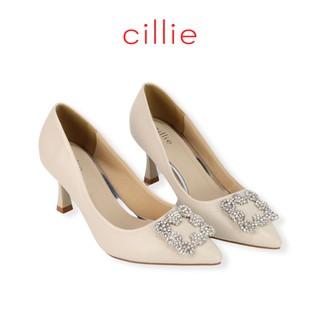 Giày cao gót nữ thời trang bít mũi mũi nhọn cao 7cm phối khóa Cillie 1154 - Mang công sở đi làm êm chân