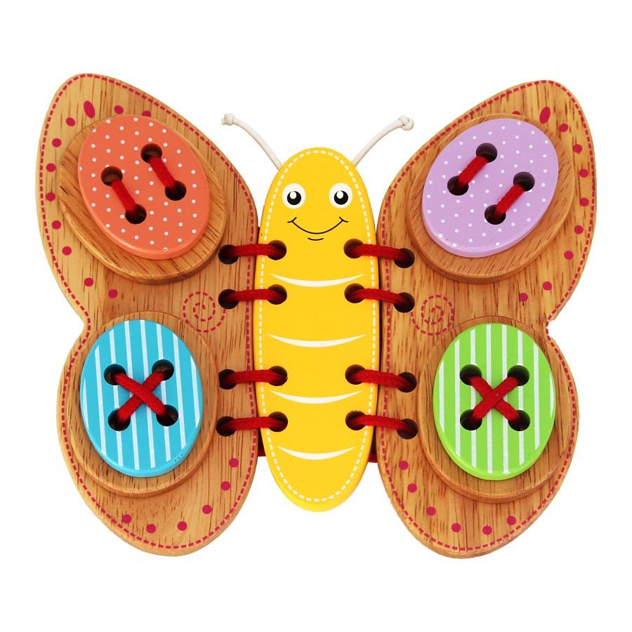 [Mã TOY0D giảm 15K đơn bất kỳ] Đồ chơi gỗ xỏ dây ghép hình bướm xinh Colligo 80142