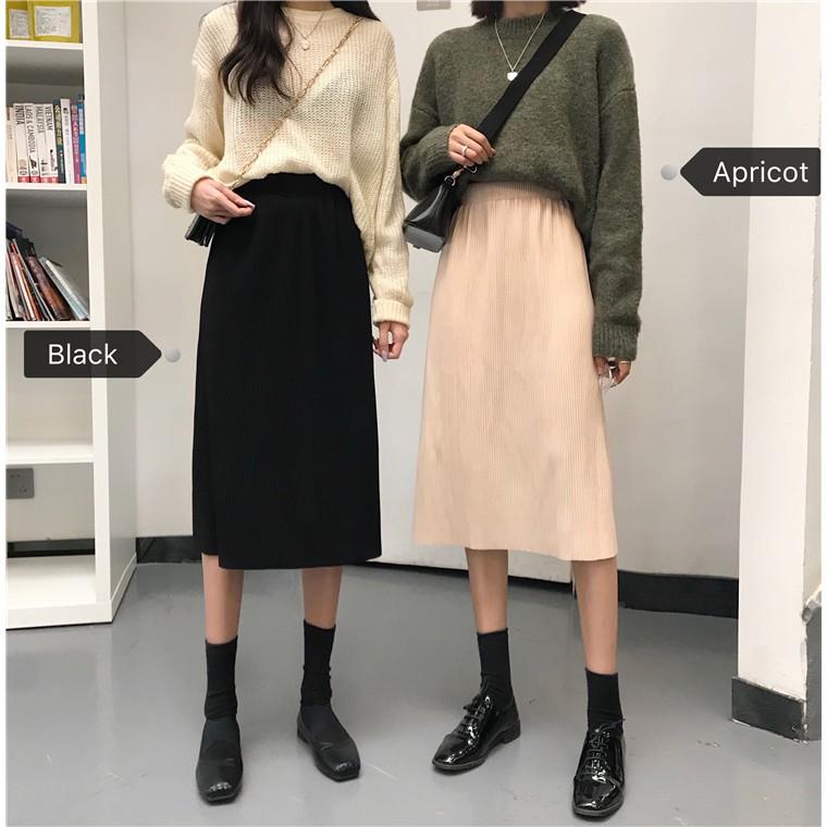 Váy midi lưng cao màu trơn theo phong cách retro Hàn Quốc