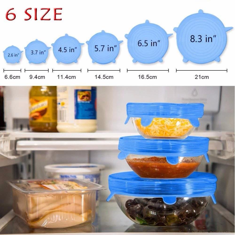 Bảo quản thực phẩm Bộ 6 nắp Silicone siêu dai dùng nhiều lần