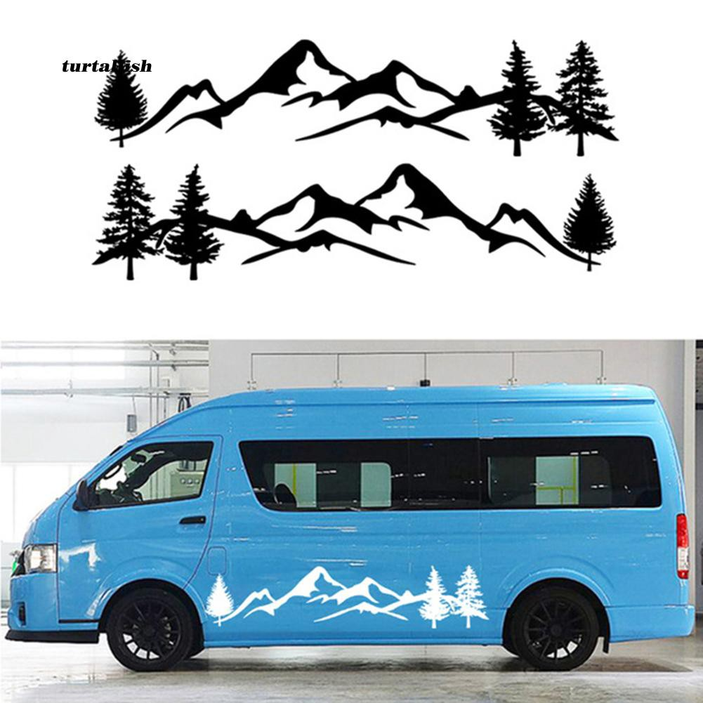 TUR♥Mountain Tree Car-Styling Vehicle Body 2 Side Skirt Decals Stickers Decoration