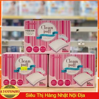 Bông tẩy trang Cotton Clean Puff Nhật Bản hộp 80 miếng
