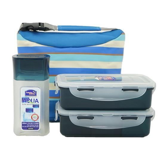 Bộ túi hộp cơm Lock&Lock: HPL756*1, HPL758*1, HAP704*1 W/Stripe pattern Bag Màu xanh - HPL758S3SB