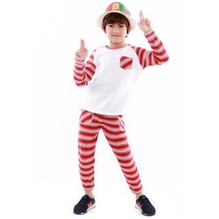 Bộ quần áo bé trai Narsis KE9039 len đỏ kẻ trắng thumbnail