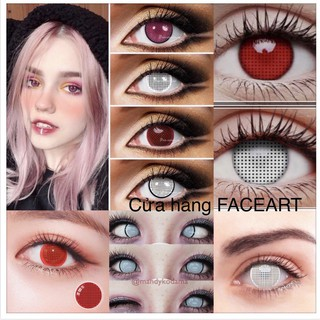 LENS HÓA TRANG HALLOWEEN- 1 CẶP Contact lens Cosplay- kính áp tròng màu trắng / đỏ / xanh / vàng / tím