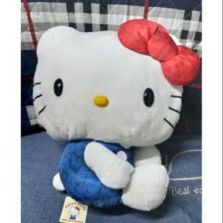 Gấu bông mèo Kitty đeo nơ, size 50cm, lông vải cực mịn, hàng gắp, chính hãng Nhật Bản, mới 100%, full tem mác.