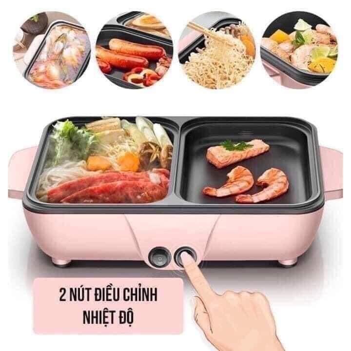 [Mã SKAMPUSHA7 giảm 8% đơn 250k][SẴN] Bếp mini 2 ngăn lẩu - nướng chống dính