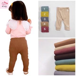 Quần dài bé gái bé trai thun tăm đóng tả bỉm K.woo [Giá tận gốc] quần gân tăm dài sơ sinh thu đông đáp đũng cho bé thumbnail