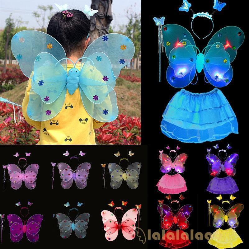 ◕ω◕3pcs Vogue Kids Girls Angel Fairy Butterfly Wings Fancy Princess Party
