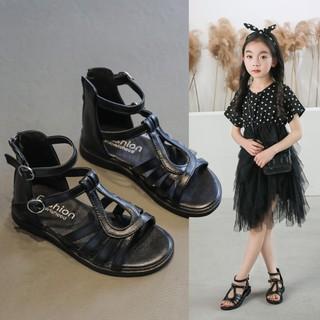 Giày Sandal Chiến Binh Bé Gái 3 – 15 Tuổi, Dép Sandal Cho Bé Đế Mềm Chất Da PU Kiểu Dây Đan Phong Cách Cá Tính